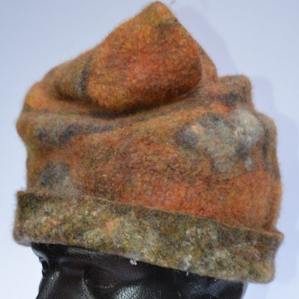 Rust-coloured felt hat by Pearl Taylor